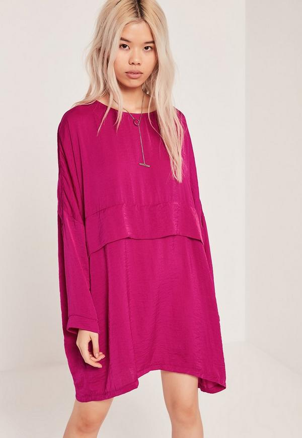 Oversized Satin Dress Pink