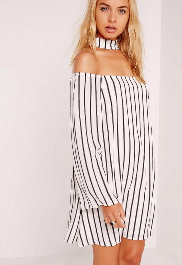 Choker Neck Stripe Swing Dress White