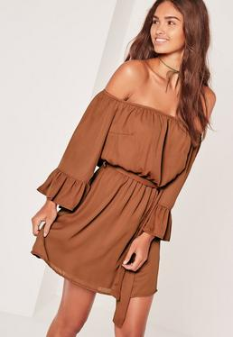 Bardot Frill Sleeve Tie Waist Skater Dress Brown