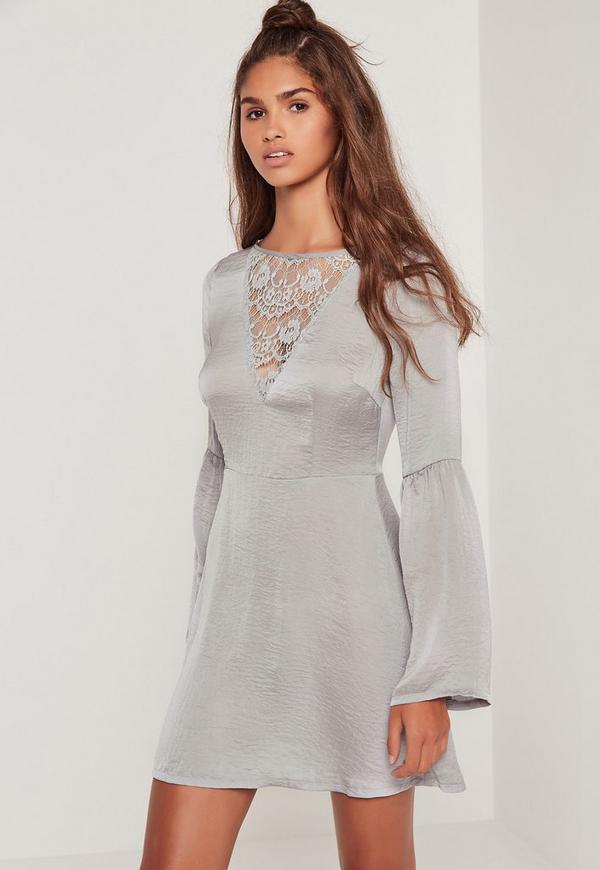 Lace Front Flared Sleeve Skater Dress Grey