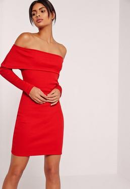Ribbed Bardot Mini Bodycon Dress Red