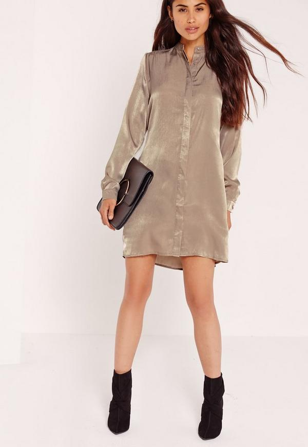 Satin Shirt Dress Nude