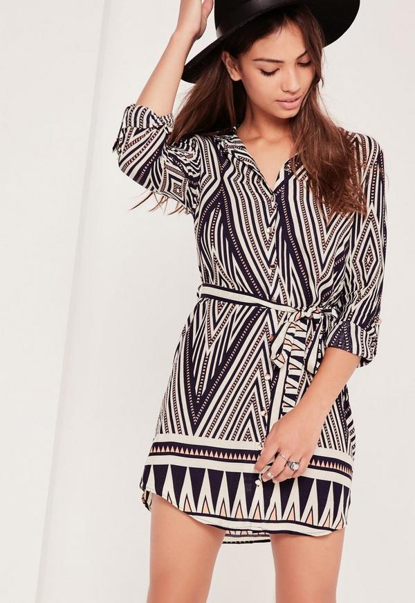 Geo Print Shirt Dress Multi