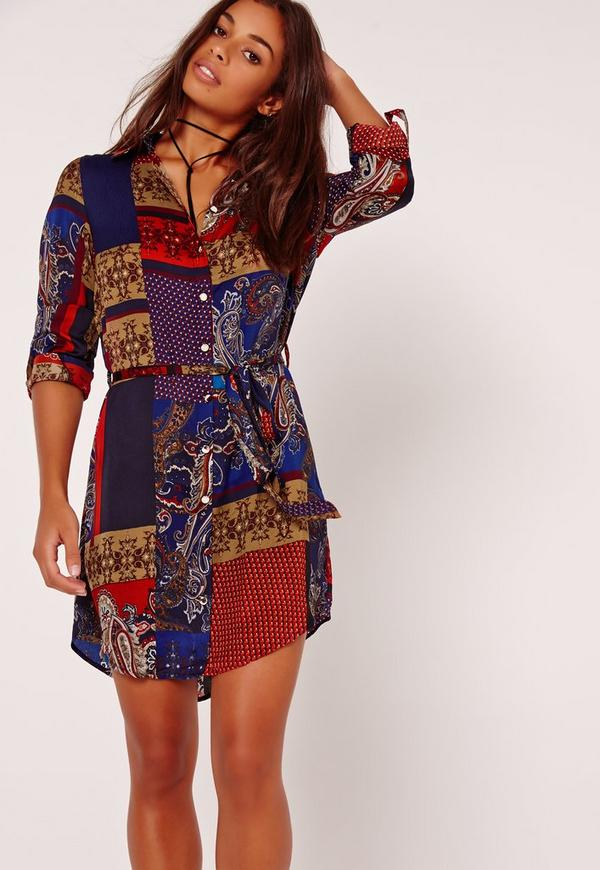 Deep Paisley Shirt Dress Multi