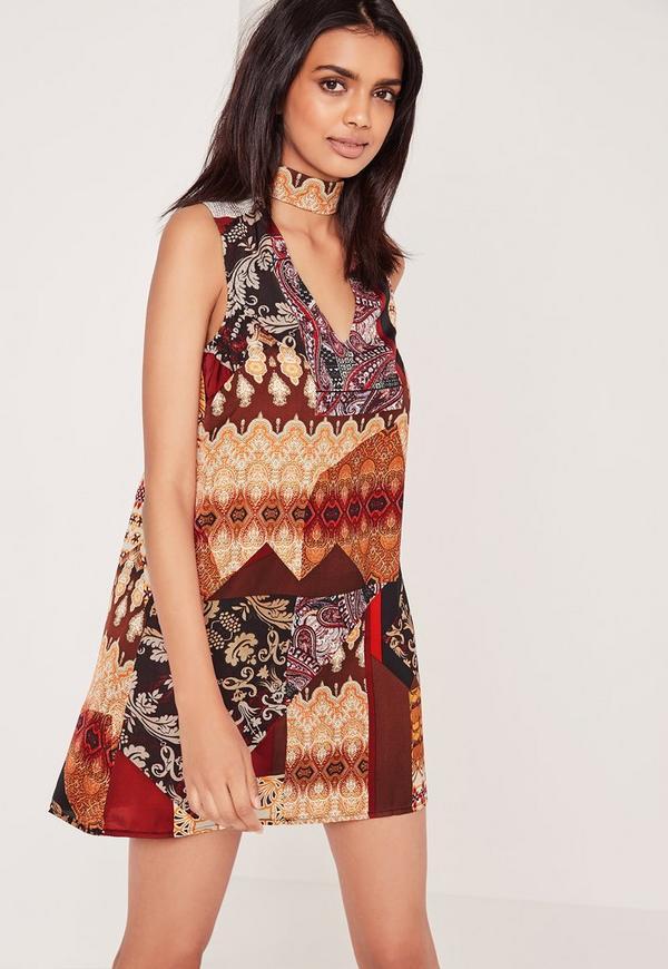 Flower Tile Print Choker Neck Dress Multi