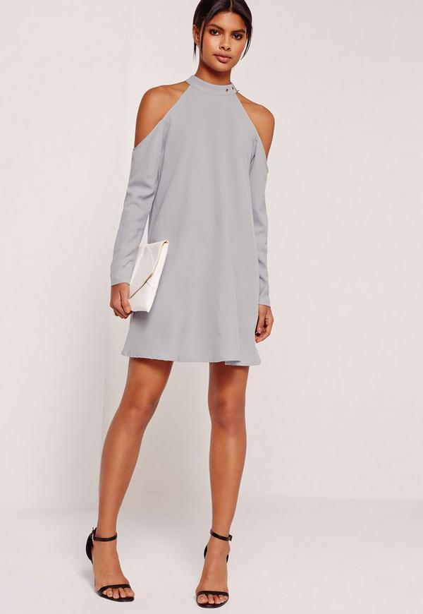 Buckle Neck Cold Shoulder Dress Grey