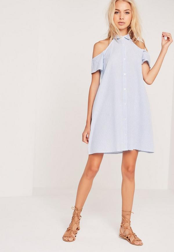 Stripe Cold Shoulder Shirt Collar Dress Blue
