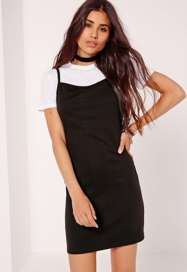 Rib 2 in 1 T-Shirt Dress Black
