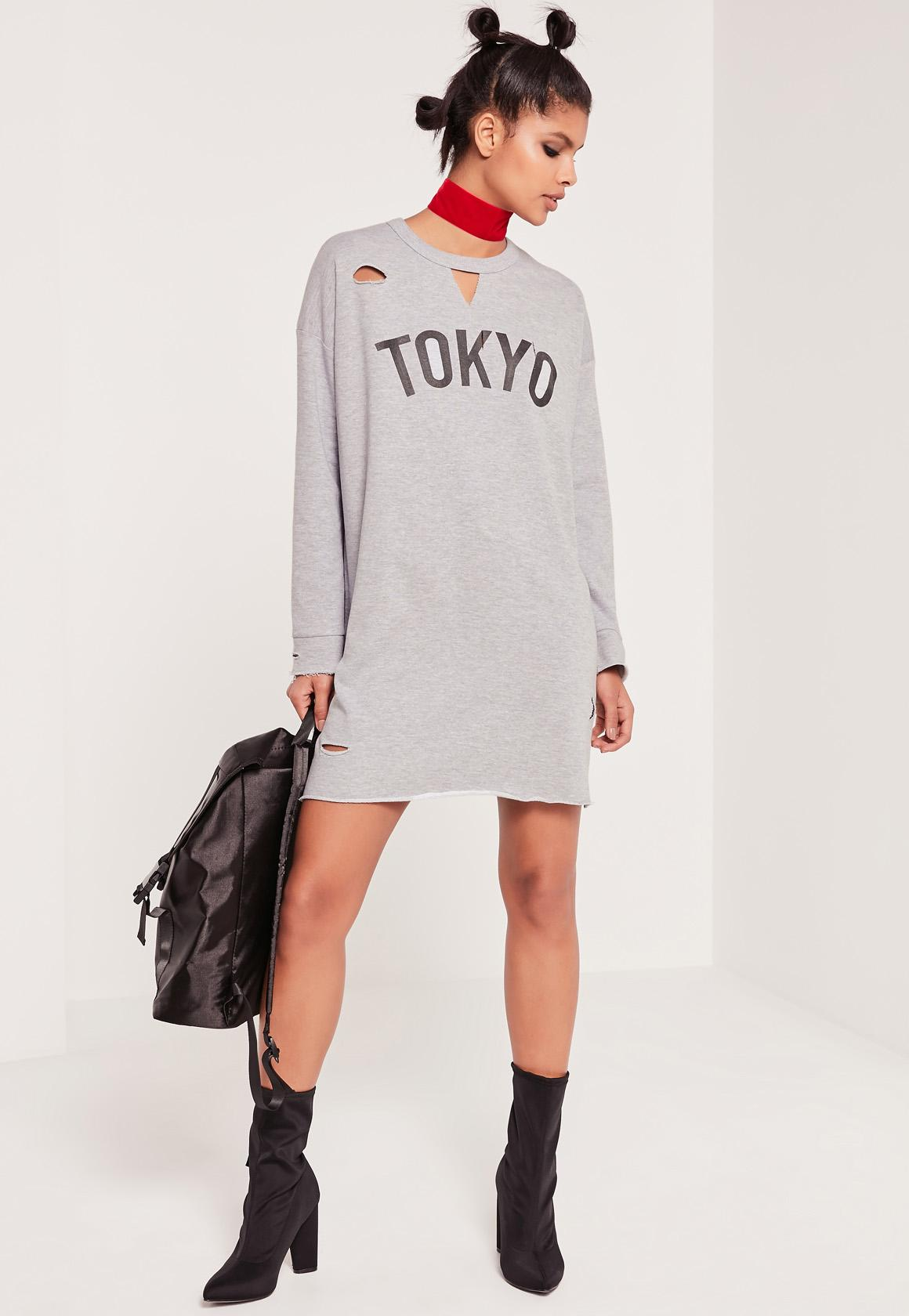 Grey Ripped Tokyo Oversized Sweater Dress | Missguided