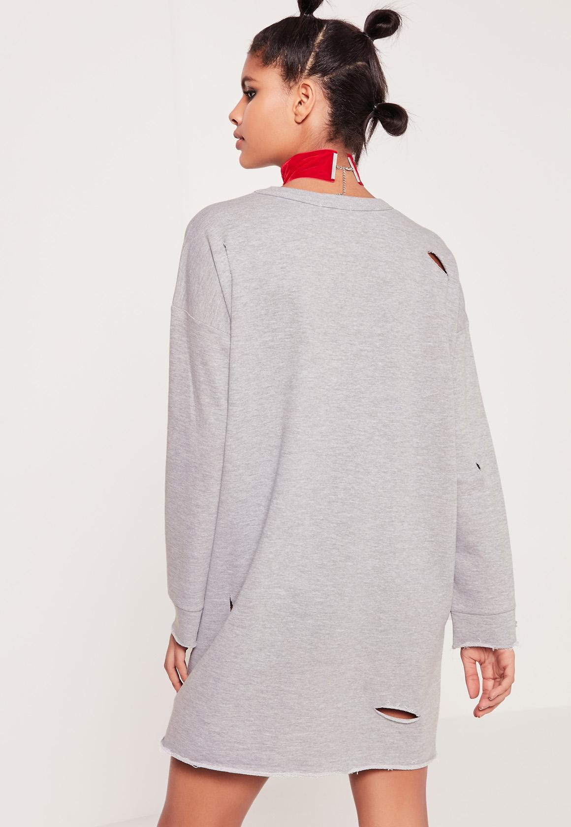 Grey Ripped Tokyo Oversized Sweater Dress [ZDC_469548] - $23.99 : Shop