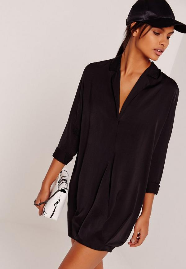 Cross Over Wrap Shirt Dress Black