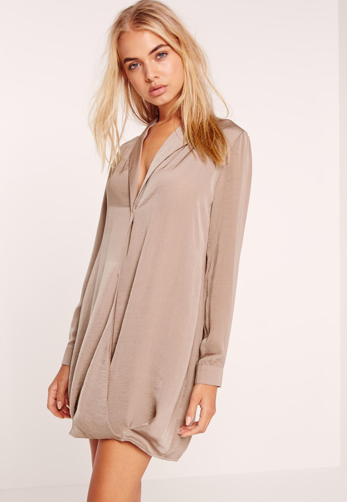 silky cross over wrap shirt dress brown