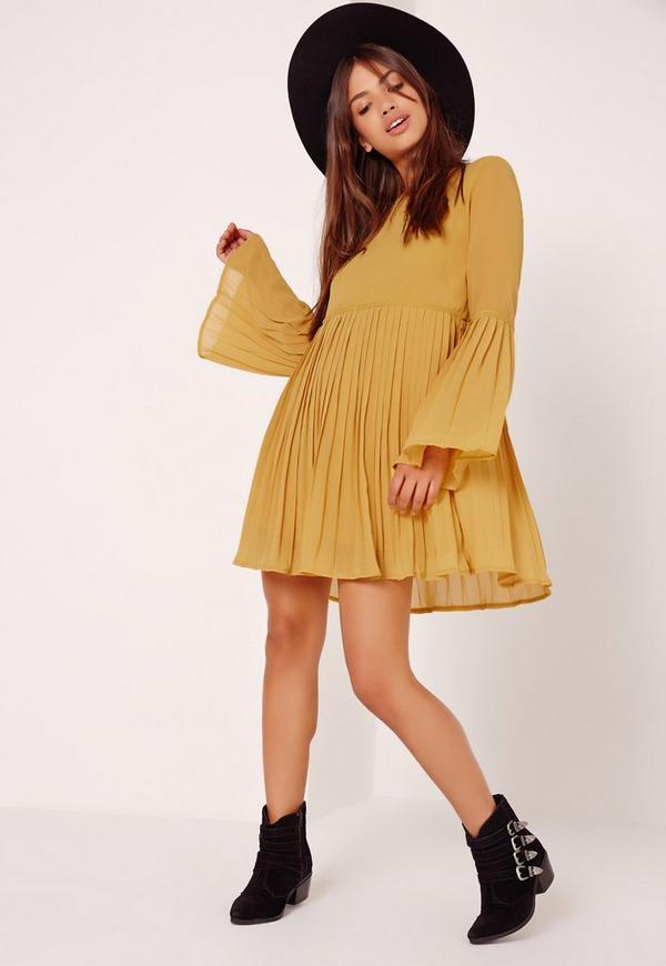 Long Sleeve Pleated Swing Dress Mustard