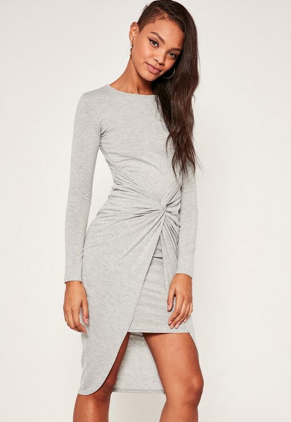 Twist Front Marl Midi Dress Grey