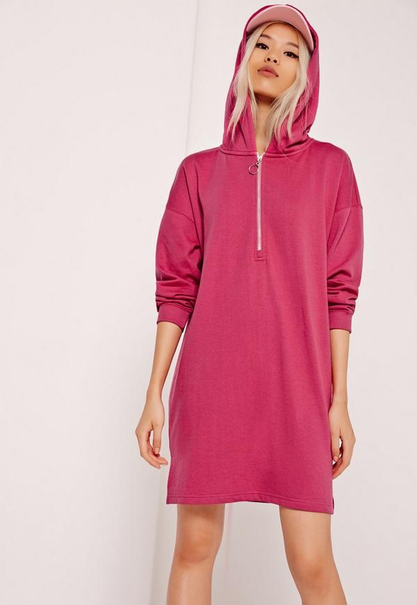 Zip Front Hooded Sweater Dress Pink