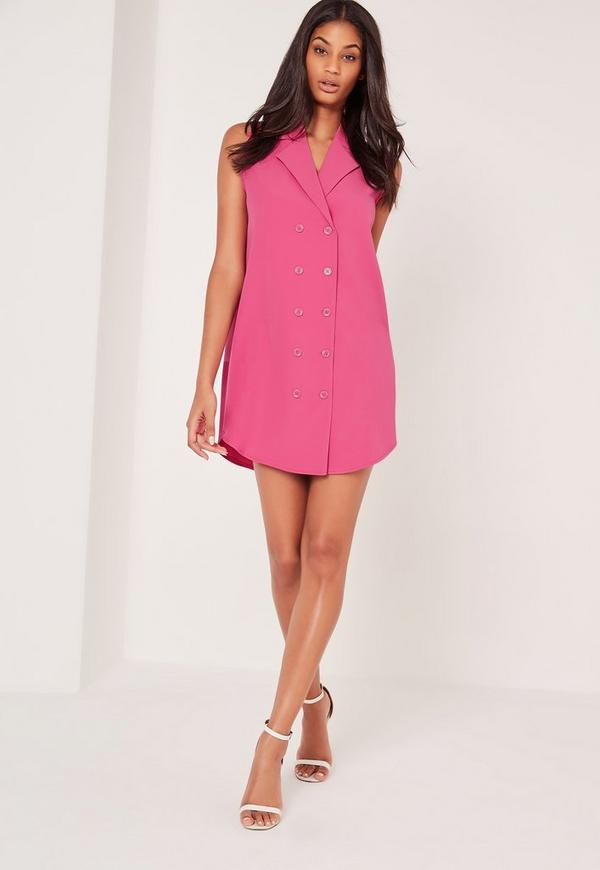 Double Button Curve Hem Sleeveless Shirt Dress Pink