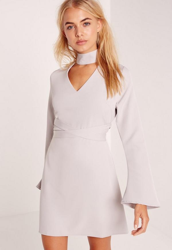 Choker Neck A line Mini Dress Grey