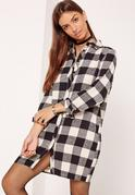 Square Check Shirt Dress White