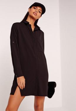 Front Split Shirt Dress Black