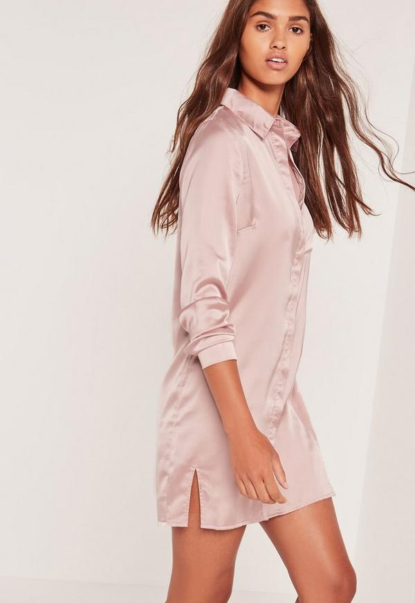 Satin Front Split Shirt Dress Nude