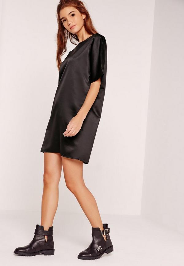 Satin Shift Dress Black