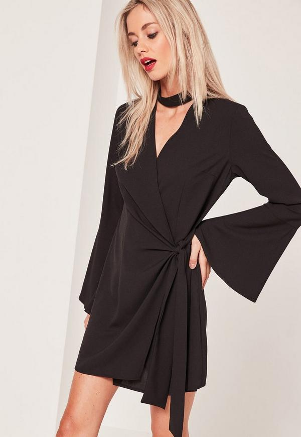 Choker Neck Wrap Dress Black