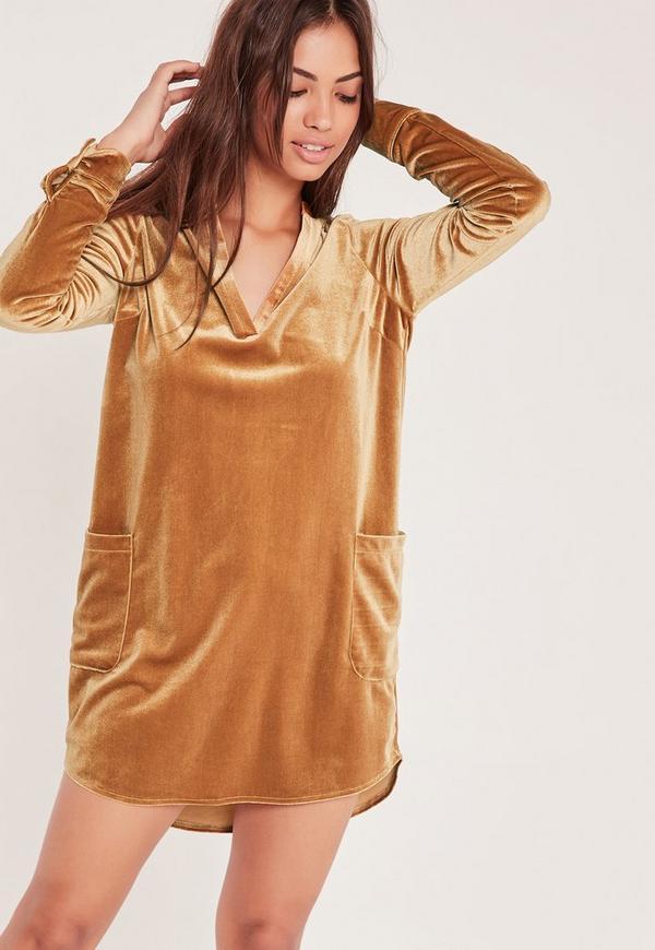 Oversized Velvet Pocket Shirt Dress Gold