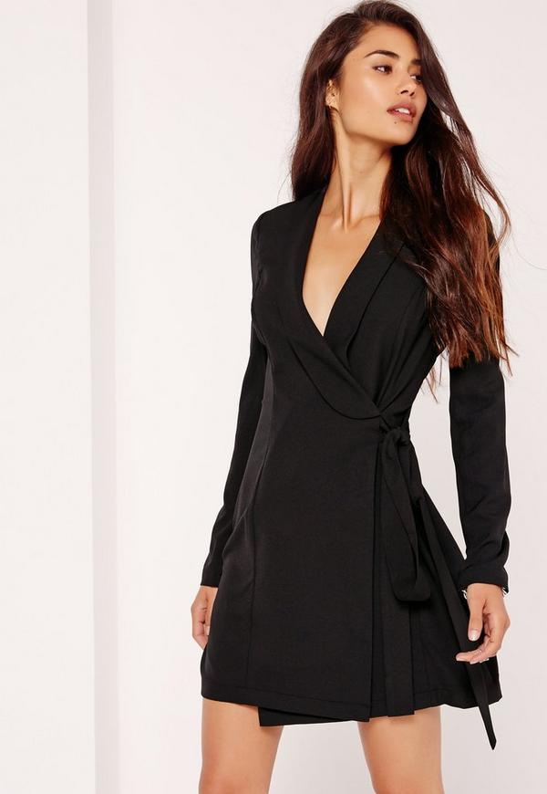 Tie Side Shift Dress Black