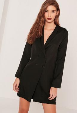 Curved Collar Blazer Dress Black