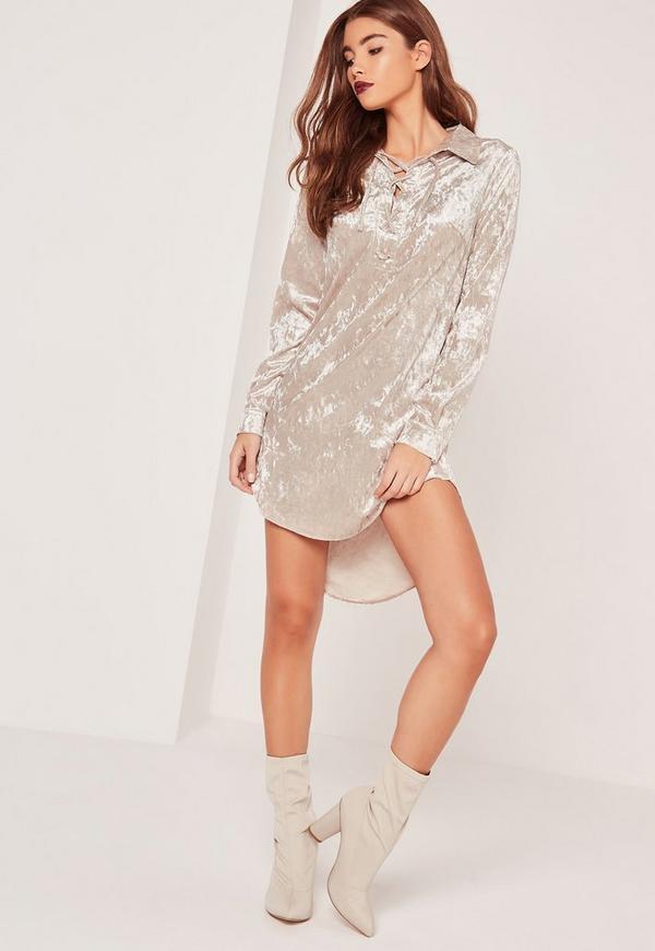 Oversized Lace Up Velvet Shift Dress White