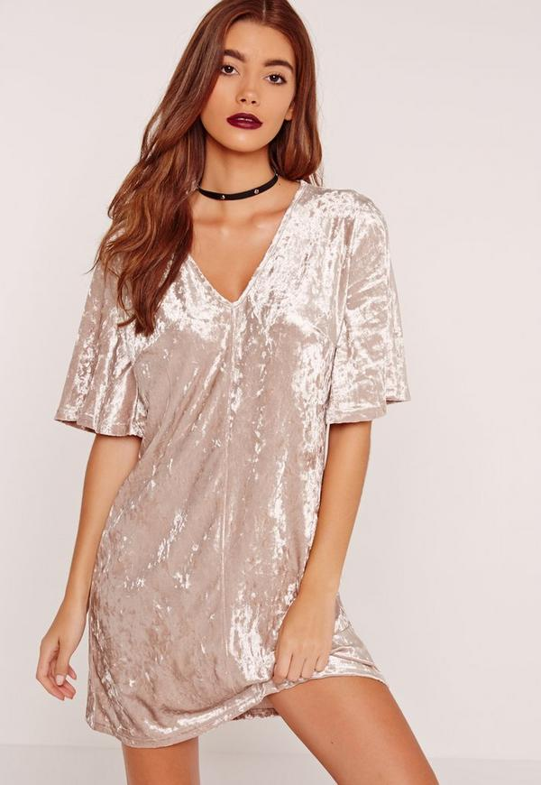 Kimono Sleeve Velvet Shift Dress Cream