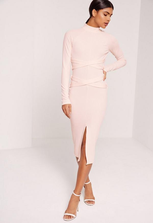 Ribbed Belted Midi Dress Nude