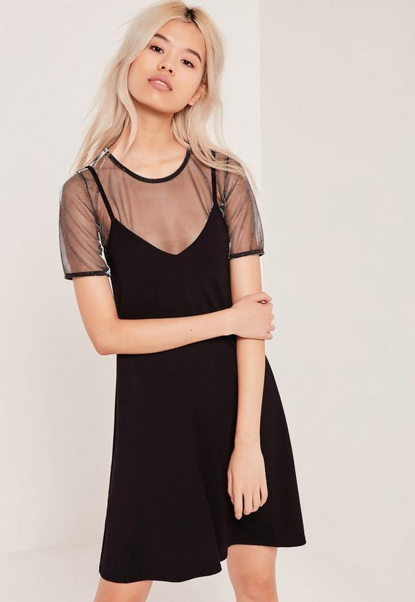 2 in 1 Strappy Mesh Dresses Metallic