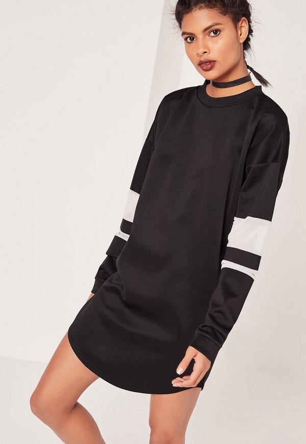 White Mesh Insert Jumper Dress Black