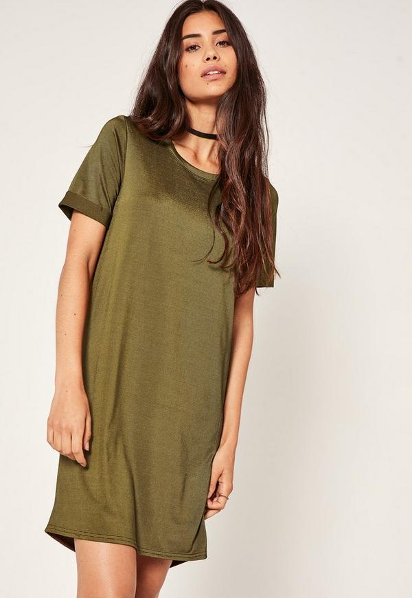 Robe t shirt fluide verte dos benitier missguided for Robe fluide verte