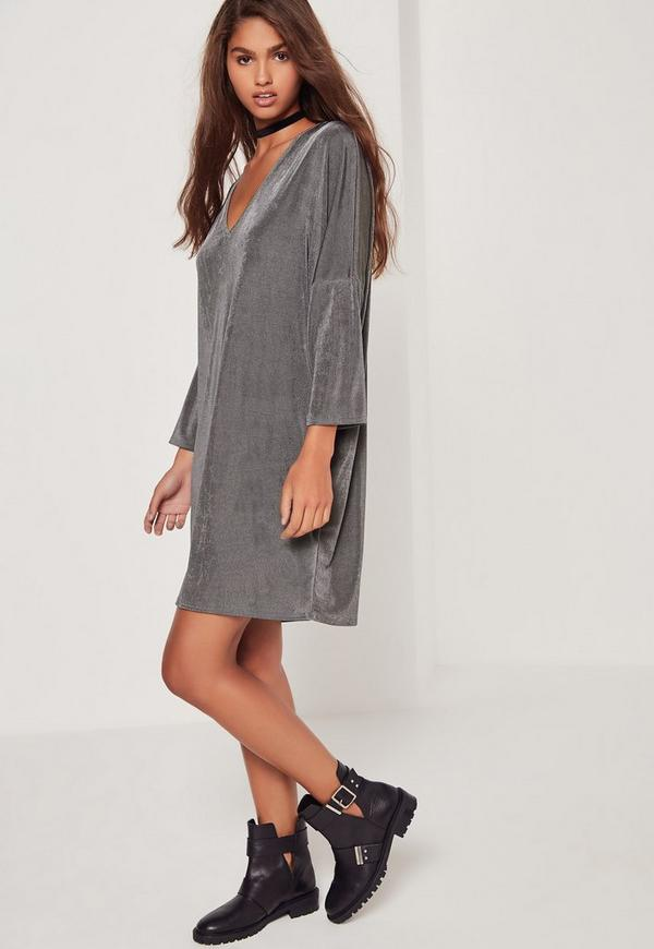 Oversized V-Neck Grey Dress