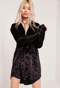 Robe-chemise noire oversize en velours