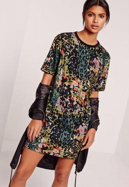 Animal Print T-shirt Dress Multi