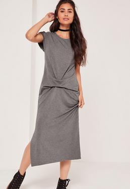 Draped Front Side Split Dress Grey