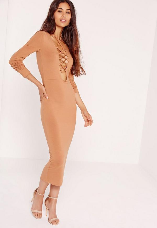 Lace Up Front Midi Dress Camel