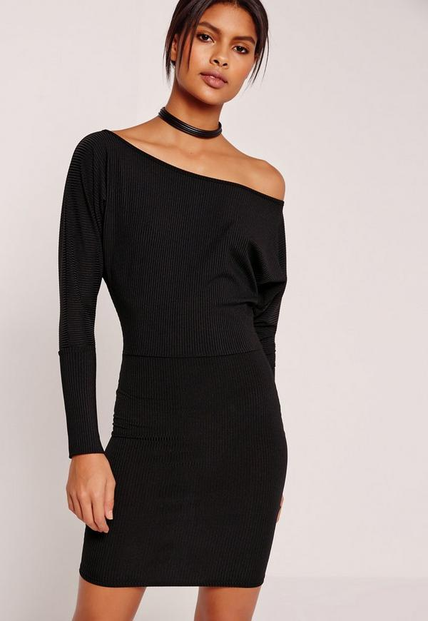 Slouchy One Shoulder Mini Dress Black