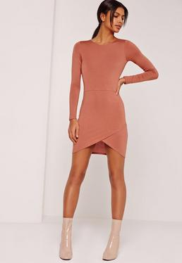 Asymmetric Hem Long Sleeve Jersey Dress Brown