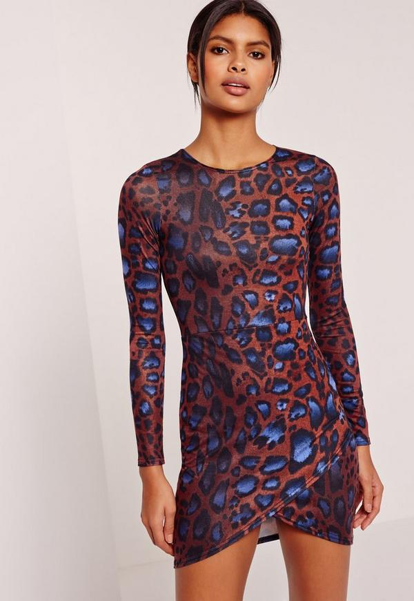 asymmetric hem long sleeve jersey dress leopard print multi