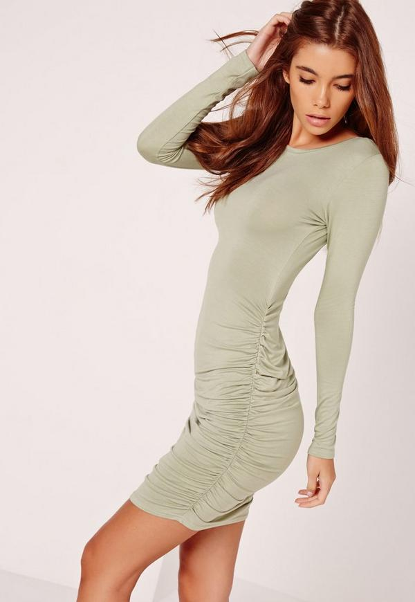 Long Sleeve Ruched Bodycon Dress Green