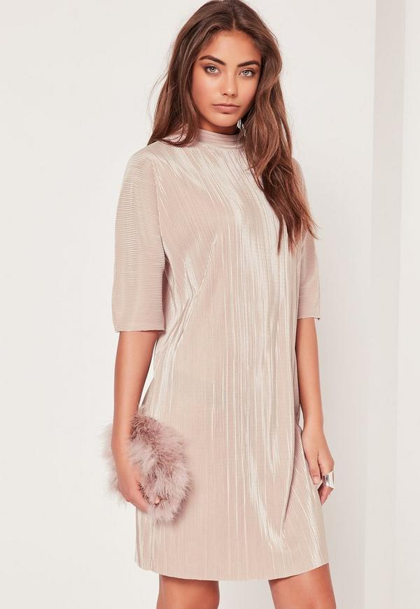 Crinkle T Shirt Dress Nude