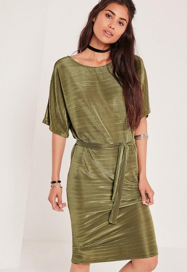 Crinkle Midi Dress Green