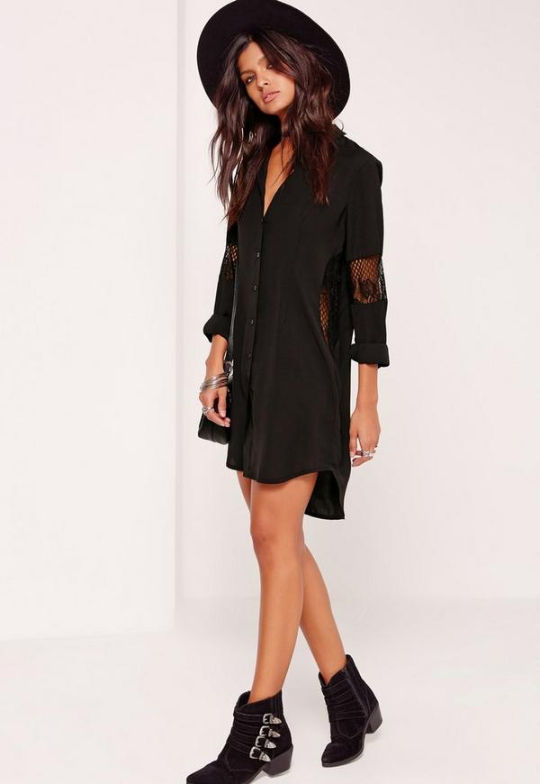 Lace Insert Shirt Dress Black