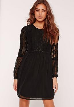 Lace Insert Skater Dress Black