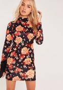 Long Sleeve Floral Scuba Mini Dress Multi