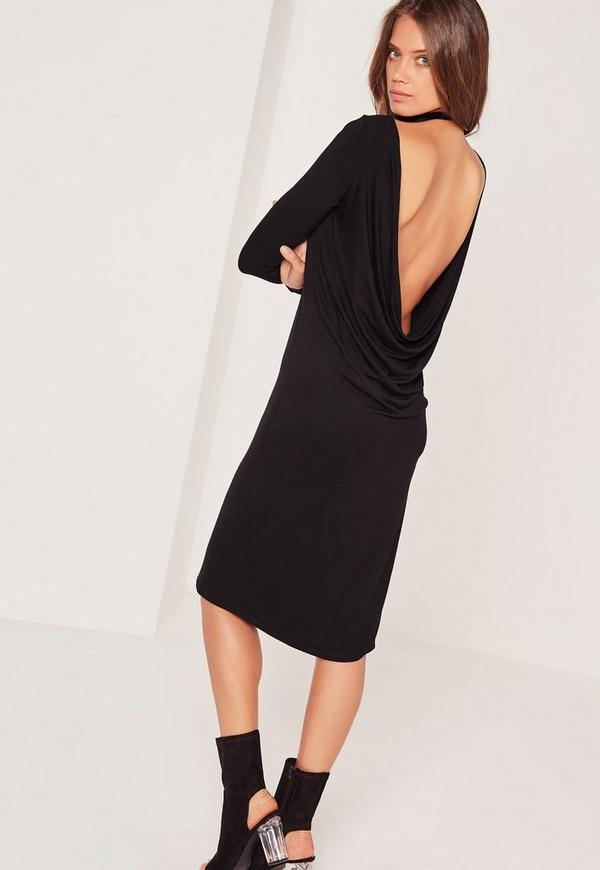 Cowl Back Long Sleeve Midi Dress Black